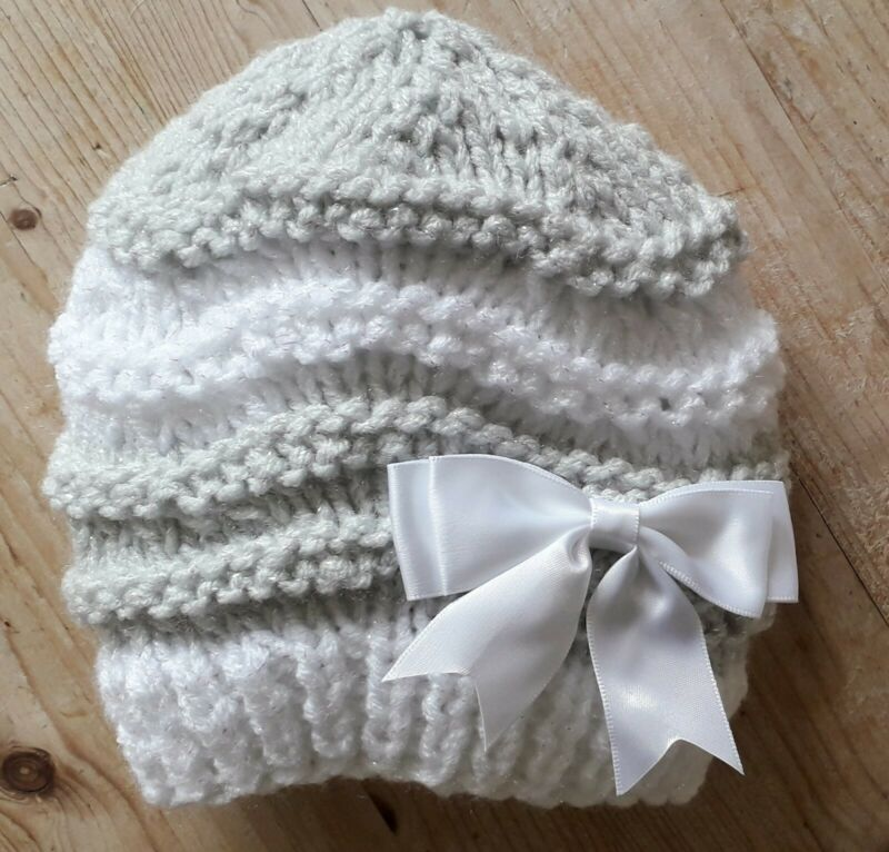 Sparkling White&Grey / Hand Knitted Baby Hat /0-3 months