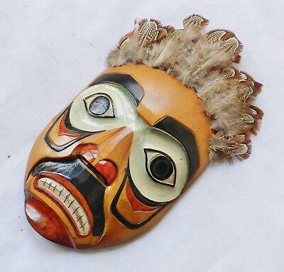 Vintage Pat Moore Haida Carved Cedar Wood Wall-Mask Northwest Coast Alaska for sale  Shipping to Canada