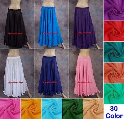 Chiffon Belly Dance Full Circle Skirts Gypsy 9 Yard Jupe Tribal Dance Costumes