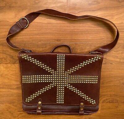 Il Bisonte leather case briefcase computer bag Wanny Di Filippo Union Jack