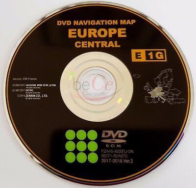 Toyota Lexus ORIGINAL Navigation DVD E1G 2018 Zentral Europa Update Navi Map