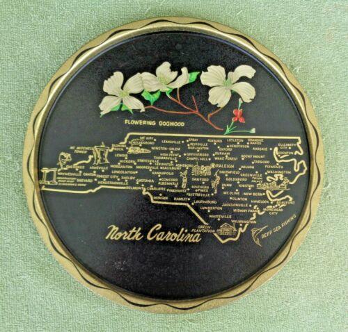 Vintage Round Black & Gold Metal NC State Souvenir Serving Tray- North Carolina