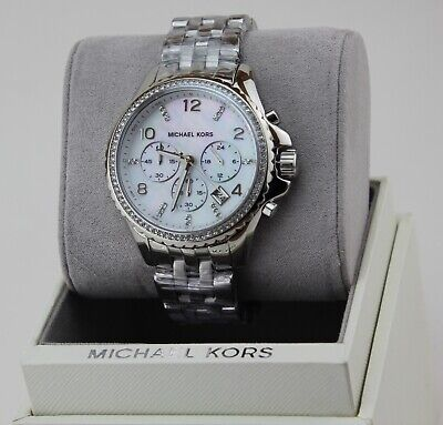 NEW AUTHENTIC MICHAEL KORS PILOT MOP SILVER CHRONOGRAPH WOMEN'S MK5346 WATCH