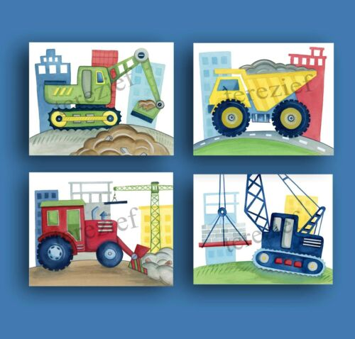 CONSTRUCTION CAR TRUCK BUSY BUILDER BABY BOY NURSERY WALL ART DECOR picture