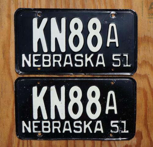1951 KNOX COUNTY Nebraska License Plate PAIR / SET Low # 88