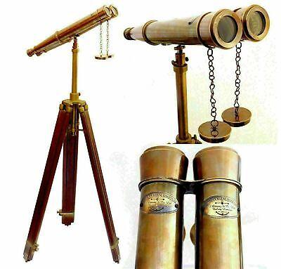 Marine Brass Binocular Mother of Pearl Binocular Spyglass X-MAS With Leather Box