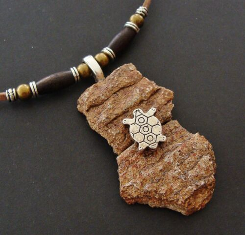 Authentic Old ANASAZI POTTERY SHARD PENDANT NECKLACE Jewelry - Turtle accent