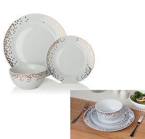 12 Pcs Gatsby Dinner Set White Gold Metallic Design Porcelain Kitchen Dinning