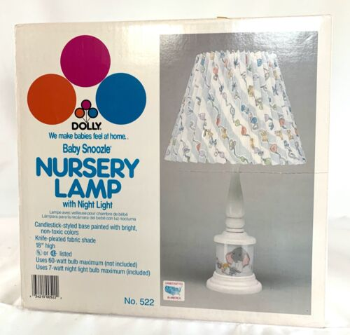 Vintage DOLLY Nursery Lamp Pleated Fabric Shade BABY SNOOZLE Elephant NEW in BOX