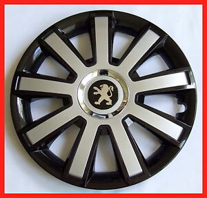 15 wheel trims for peugeot partner 206 207 308 307 208 4 x15 black silver ebay. Black Bedroom Furniture Sets. Home Design Ideas