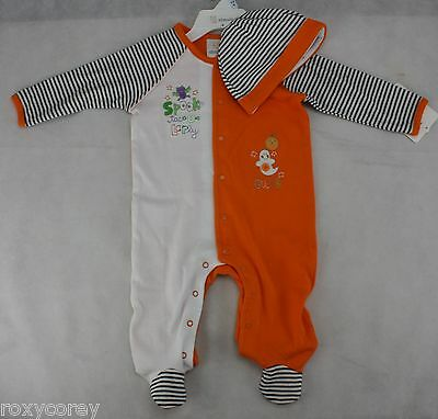 Halloween Infant Absorba Orange White Sleeper Costume with Hat Size 3-6 months