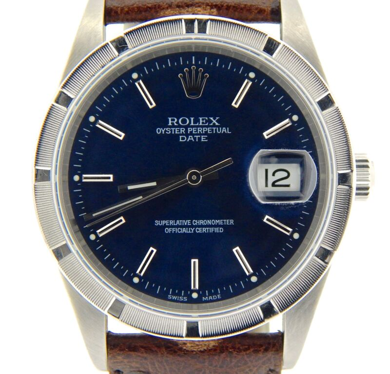 Men Rolex Date Stainless Steel Watch Quickset Brown Leather Band Blue Dial 15210