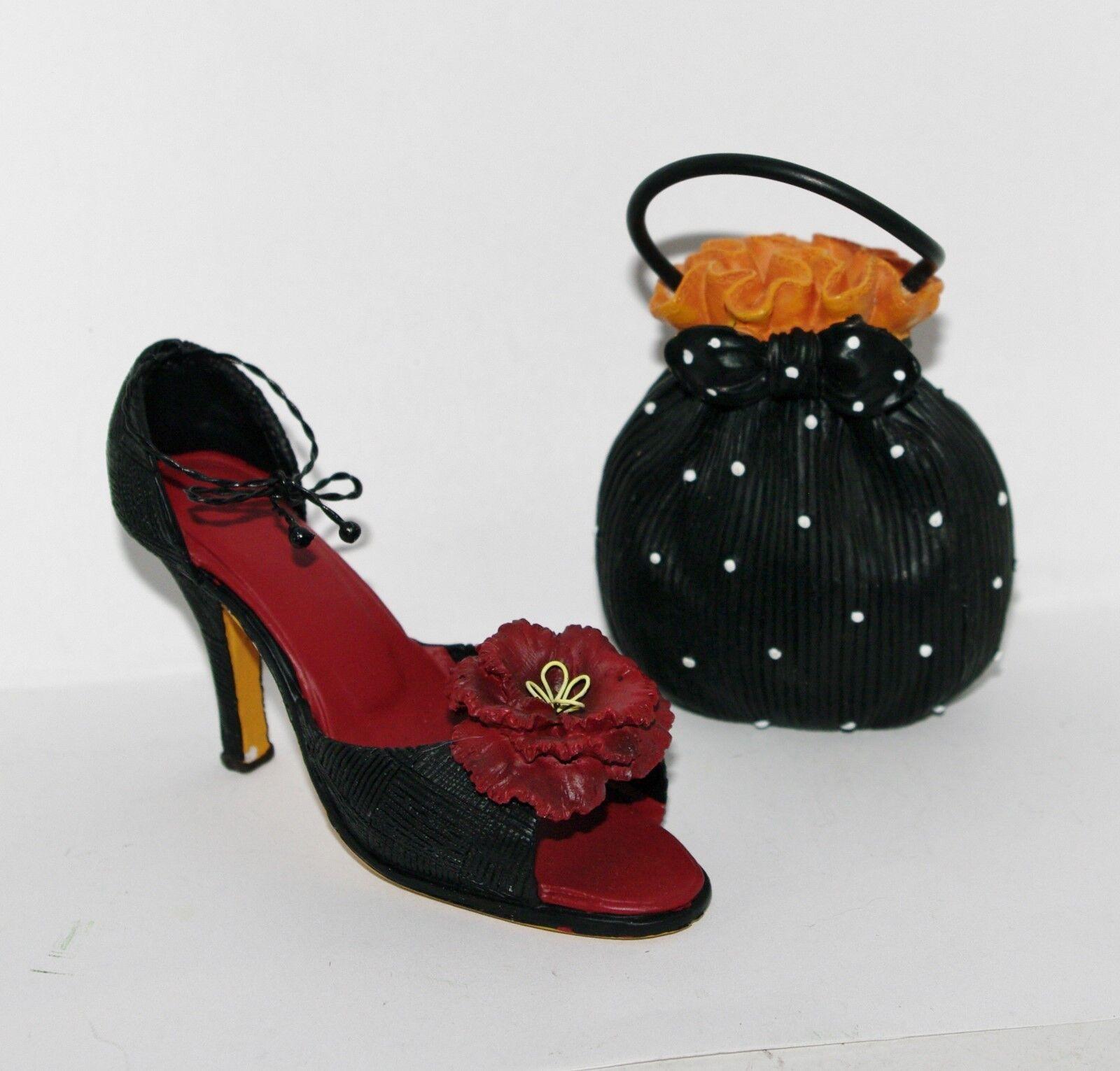 JC Penney FUNKY SANDAL Red Flower Black HIGH HEEL SHOE Polka Dot PURSE Ornaments