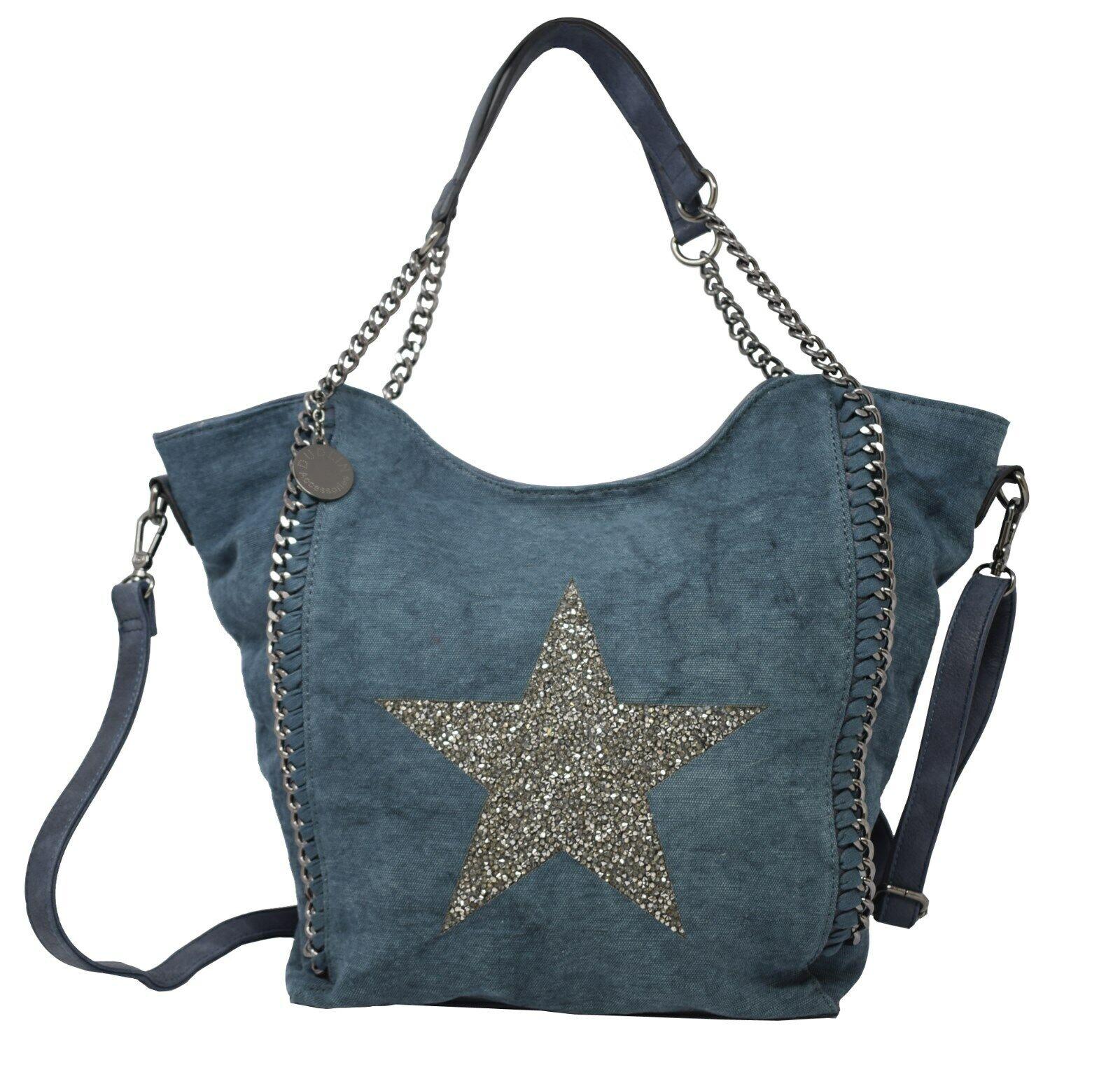 Damen Handtasche Tasche Umhängetasche Stern Kette Glitzer Canvas Trend JL1203130