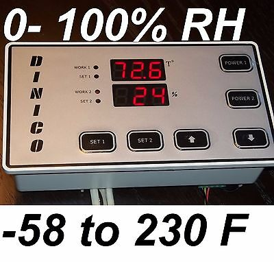 Humidity Temperature Controller Fr Hydroponic Grow Closet Hydro Cabinet Room