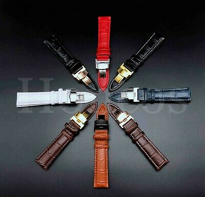 12-24MM Watch Band Strap Genuine Leather Alligator Deployment Clasp Buckle Black Brown Leather Strap