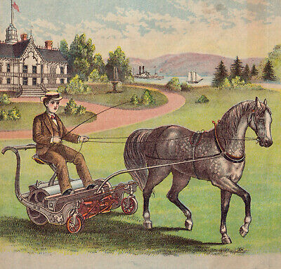 Antique Horse-drawn Lawn Mower c 1880's Chadborn & Coldwell Victorian Trade Card