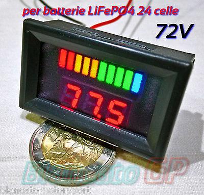 Indicador De Cargador Voltímetro Para Batería LiFePO4 72V LED Bicicleta Litio