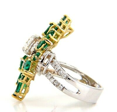 GIA certified 4.06ct. Emerald & Diamonds Cocktail Cluster ring 18kt 3