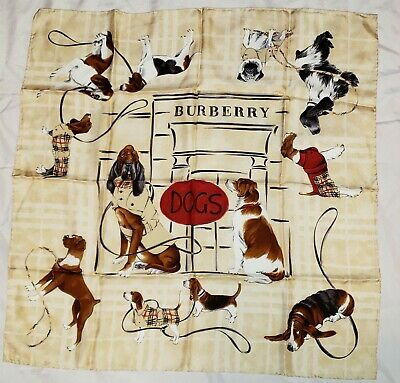 "AUTHENTIC BURBERRY TWILL SILK SCARF 34"" LIGHT PLAID DOGS with LEASHES BEAUTIFUL"