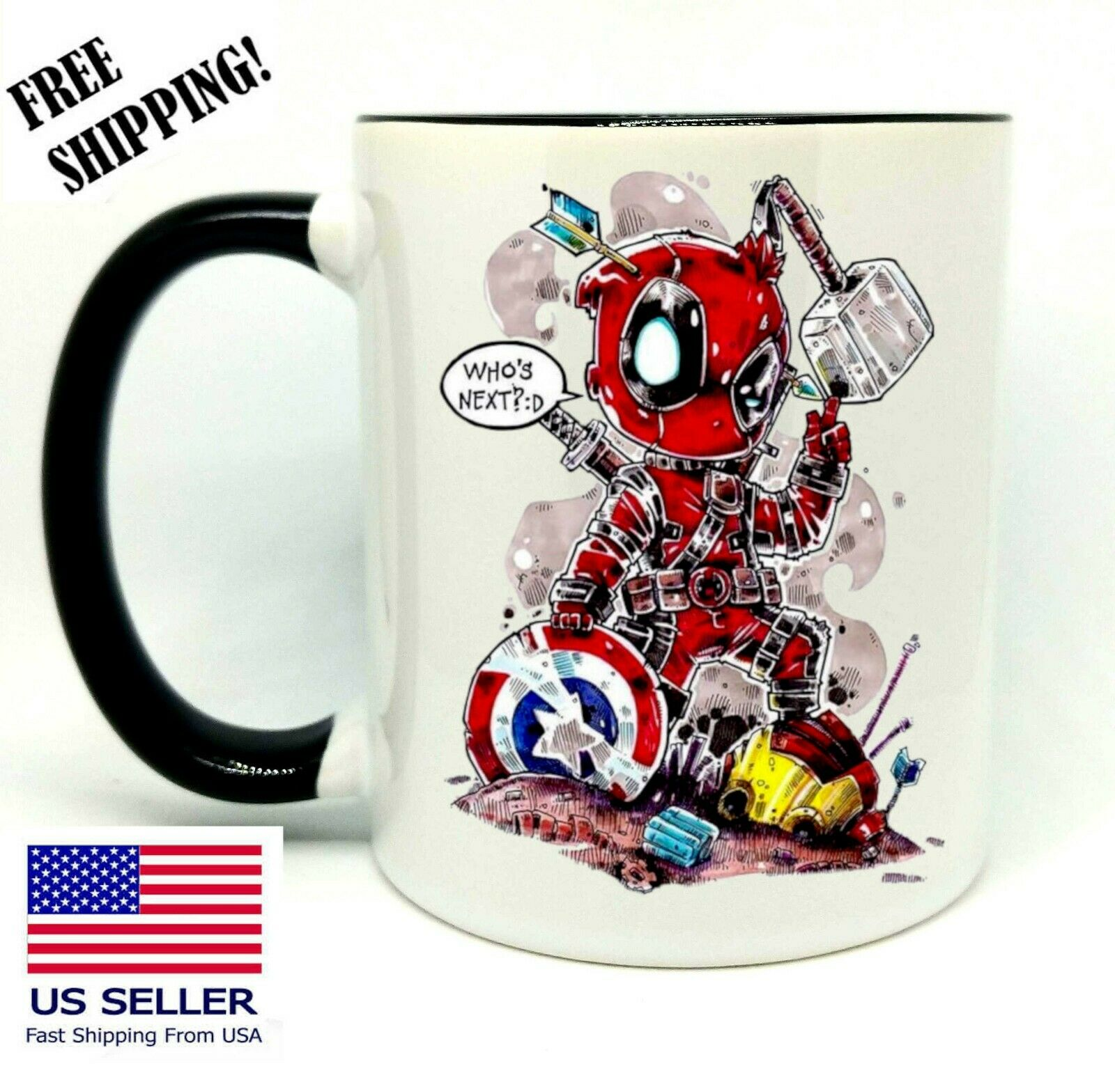 Deadpool Cartoon, Funny Mug 11 oz- Coffee / Tea -  Gift