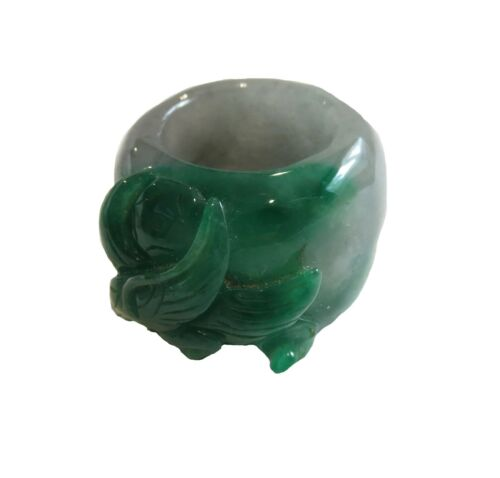 Jadeite Imperial Green Thumb Archer Ring Translucent