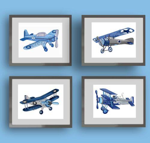 Blue Vintage Airplane Art Prints for Baby Nursery or Boy Bedroom