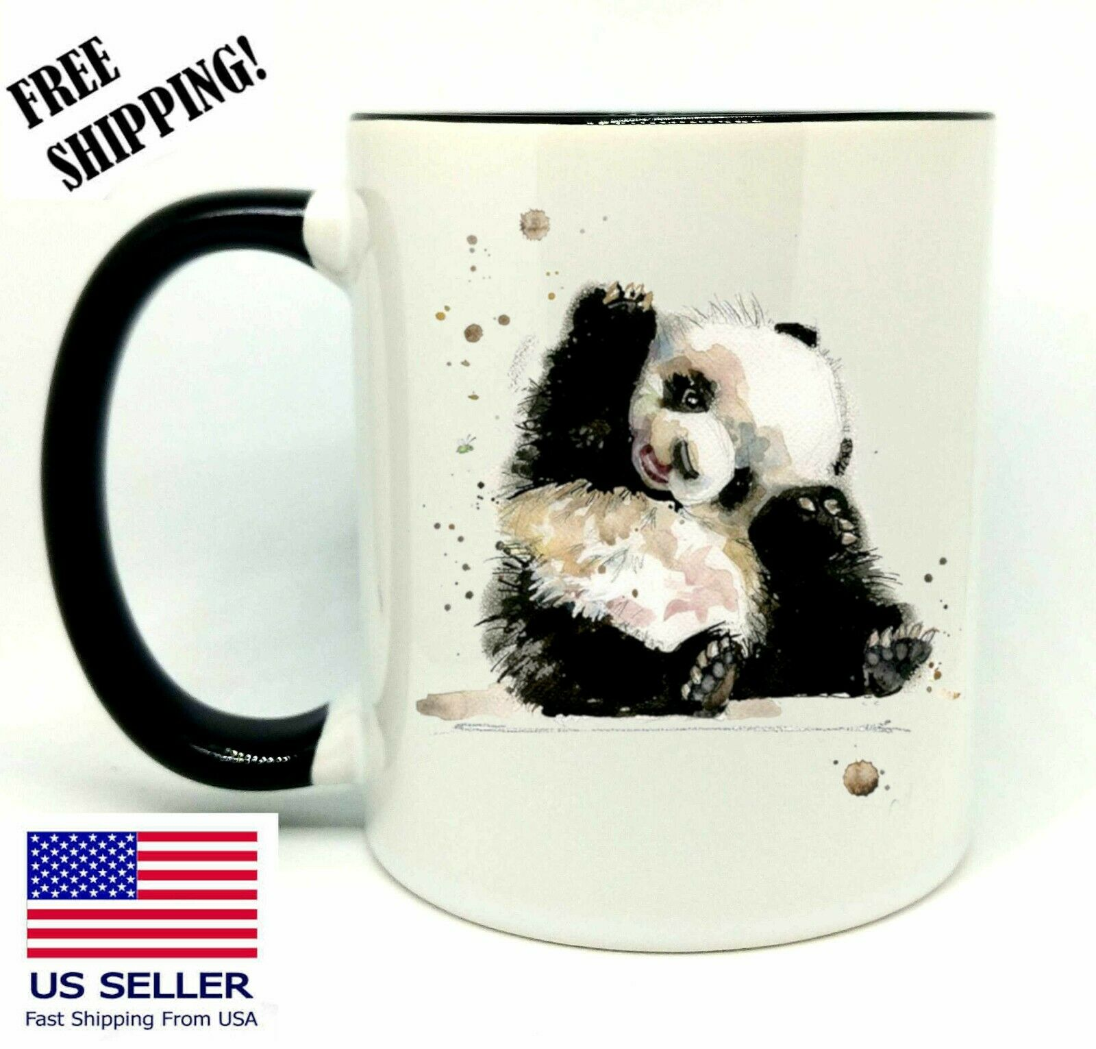 Panda,  Birthday, Christmas Gift, Black Mug 11 oz, Coffee/Tea