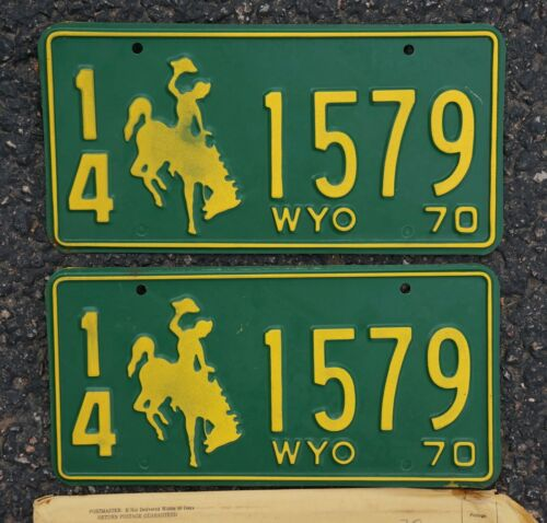 1970 Wyoming PASSENGER License Plate PAIR / SET - High Quality