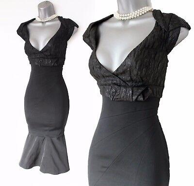 Karen Millen UK 12 Black Dress Jacquard Satin Low V Neck Mermaid Prom Cocktail