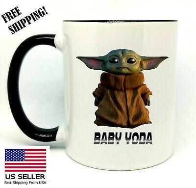 Baby Yoda, Star Wars, Birthday, Christmas Gift, Black Mug 11 oz, Coffee/Tea ()