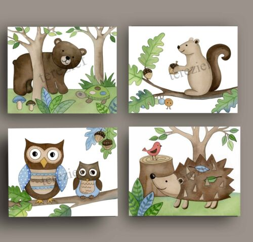 Woodland Forest Animals Wall Art Prints for Children's Bedrooms and Nurseries