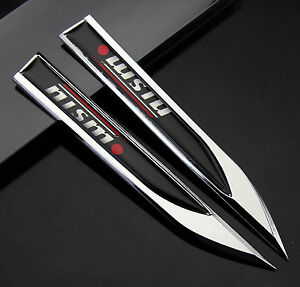 2pcs Auto car Dagger Fender Emblems Sticker Badge Decal fit for Black NISMO NEW