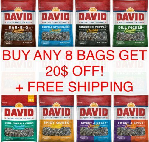 David JUMBO Sunflower Seeds 5.25oz or Pumpkin 2.25 oz BUY 8 GET $20 OFF Pick Any