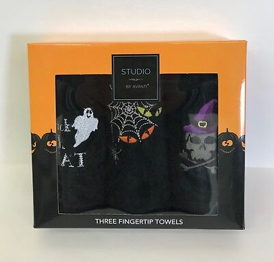 Halloween Fingertip Towels Studio by Avanti Set of 3 Black Embroidered Ghost Web ()