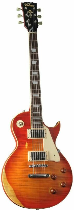 Vintage V100 Distressed Cherry Sunburst Electric Guitar