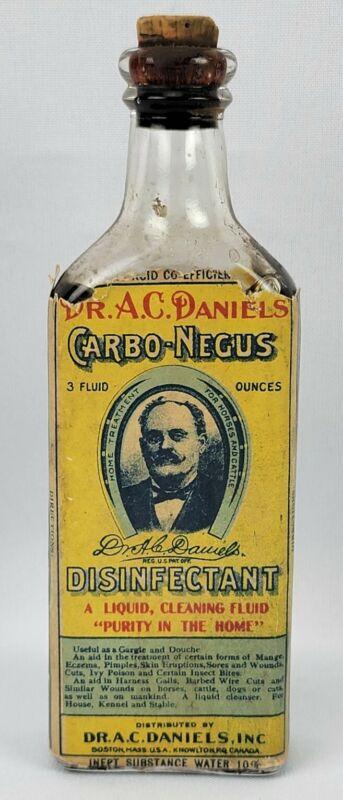 Antique Dr AC Daniels Carbo Negus Disinfectant Bottle Orig Label Contents