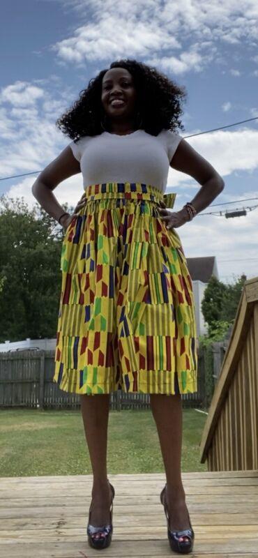 African Print Kente Fabric, Ankara skater skirt