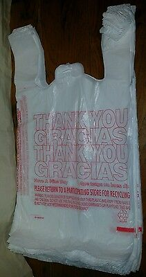 50ct Large 1/6 Thank You T-shirt Plastic Grocery Shopping Bags With - Thank You Bags