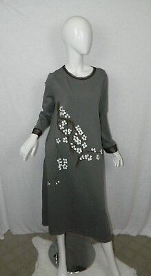 Stylewe Dress Gray Modesty Sheer Mesh And Neck Cuff Floral Painted X Large