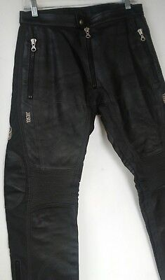 vtg 90s DIESEL mens pleather leather MOTO pants motorcycle lined zippers Punk S