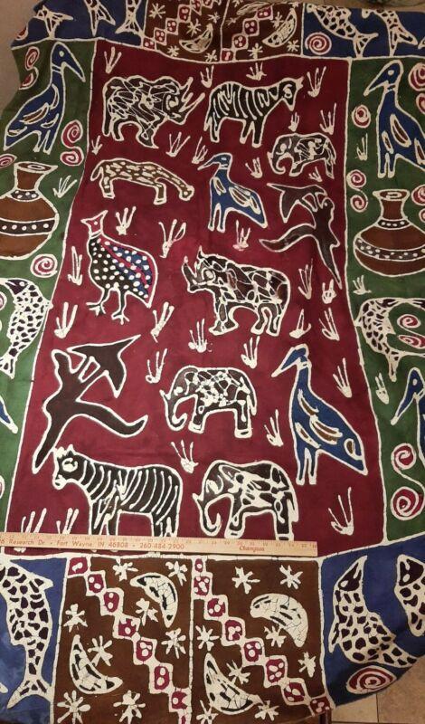 "African Art Batik Fabric Wall Panel, ZEBRAS GIRAFFE ELEPHANT RHINO BIRDS 80""x54"""