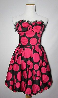 Eric Daman for CHARLOTTE RUSSE Dress 4 Party Black Pink Polka Dot Homecoming