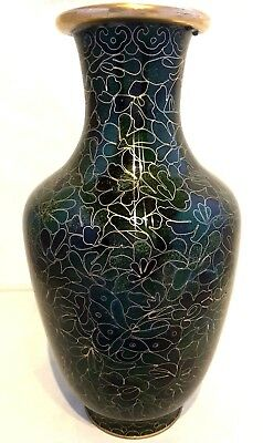 Chinese~Japanese~Vintage~Cloisonné~Butterfly~Birds~Green~Blue~Gold~Vase~Xmas!