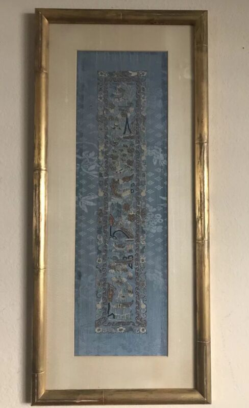 Antique Chinese Blue Silk Forbidden Stitch Embroidery Wall Frame Flower 19th c