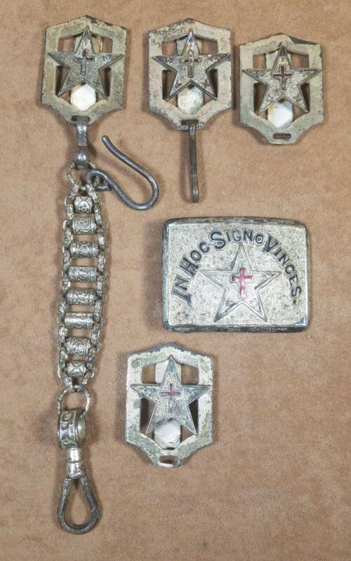 Vintage In Hoc Signo Vinces Knights Templar Masonic Sword Chain, Belt Buckle Set
