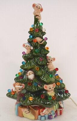 "Vtg Ceramic Christmas Tree Light Lamp Mouse Mice Multicolor Light Up Base 15.5"""