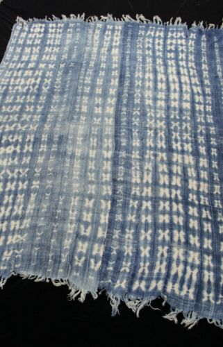"""Vintage African,Dogon Indigo Resist Dyed Fabric/Hand Woven Cotton Strips 68""""X45"""""""