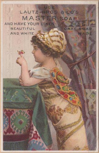 Victorian Trade Card-Lautz Bros & Co Master Soap-Buffalo, NY-Girl w/ Butterfly