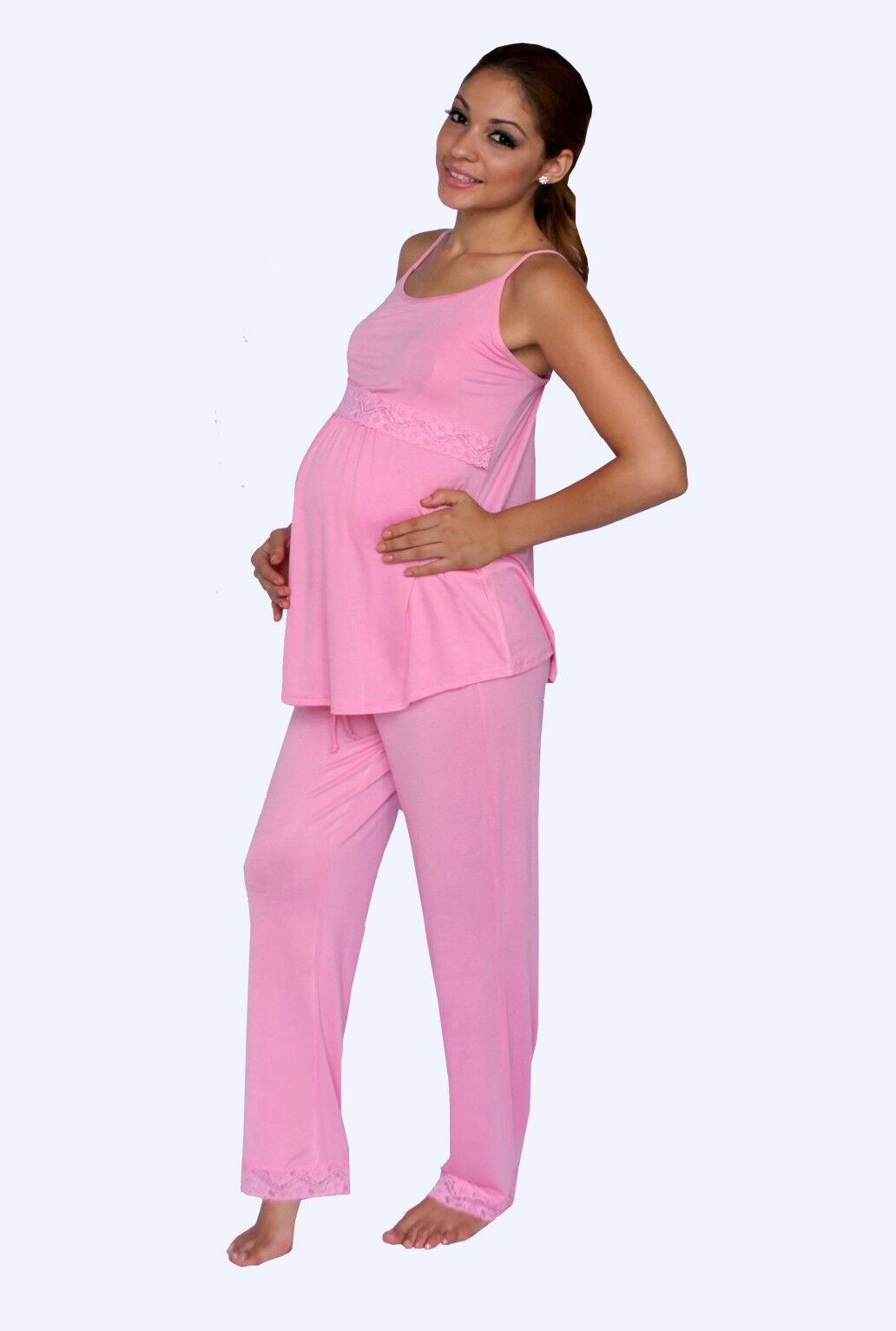 NEW MATERNITY NURSING Bra Pink Pajama Night Gown Breastfeeding Set ...